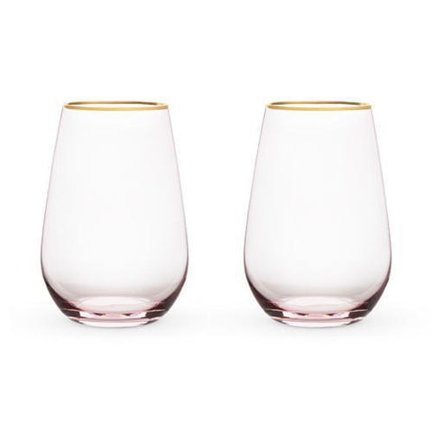 Garden Party Rose Crystal Stemless Wine Glass Set