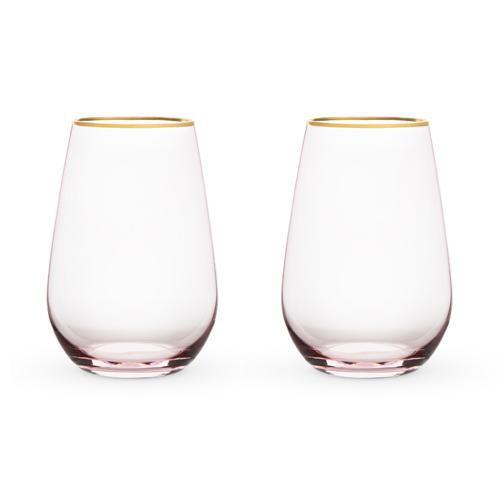 Garden Party Rose Crystal Stemless Wine Glass Set-Home - Entertaining - Wine Glasses Sets-TWINE-Peccadilly