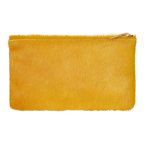 Genuine Calf Hair Zip Pouch Clutch in Marigold