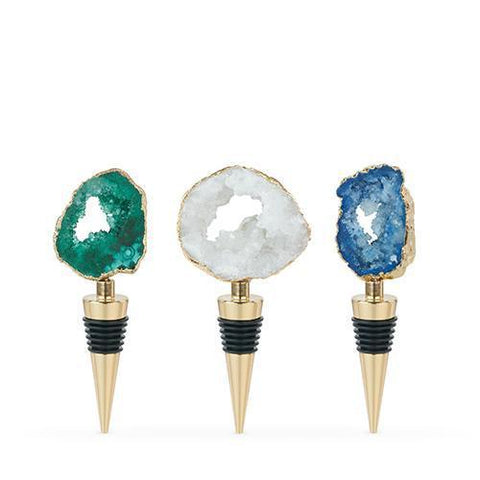Gilded Assorted Genuine Geode Bottle Stoppers Set of 3