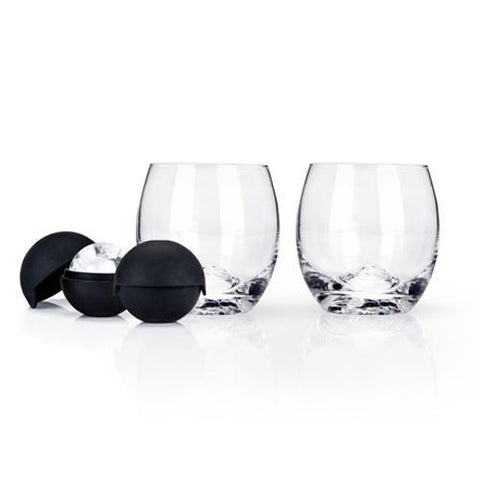 Ice Ball Mold and Lead-Free Crystal Tumbler Set of 2