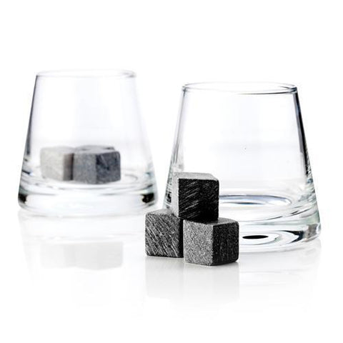 Soapstone Chilling Cubes and Tumbler Glasses Gift Set of 2
