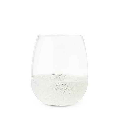 Glimmer Silver Glitter Silicone Wrapped Stemless Wine Glass