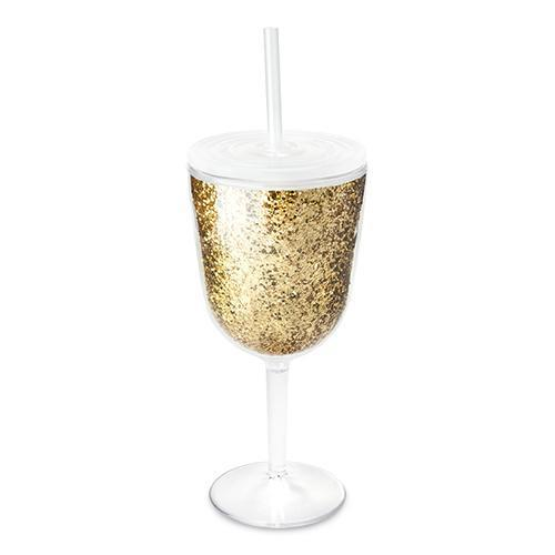 Glitz Double Walled Glitter Wine Glass-BLUSH-Peccadilly