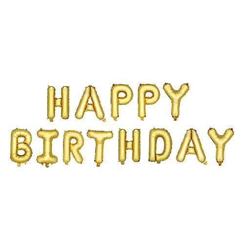 Gold HAPPY BIRTHDAY Mylar Balloon-Home - Party Supplies - Party Balloons-CAKEWALK-Peccadilly