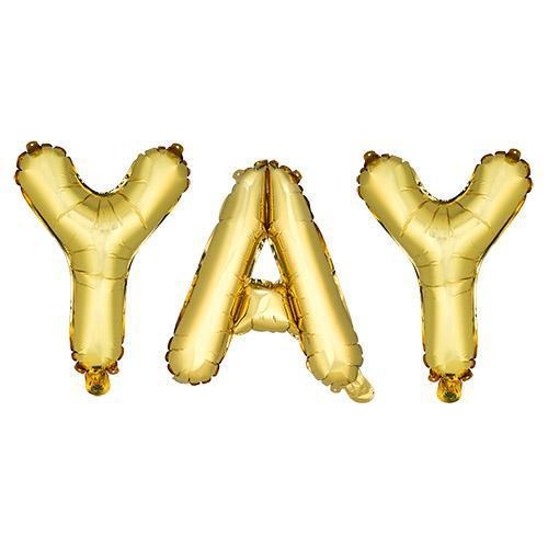 Gold YAY Mylar Balloon-Home - Party Supplies - Party Balloons-CAKEWALK-Peccadilly