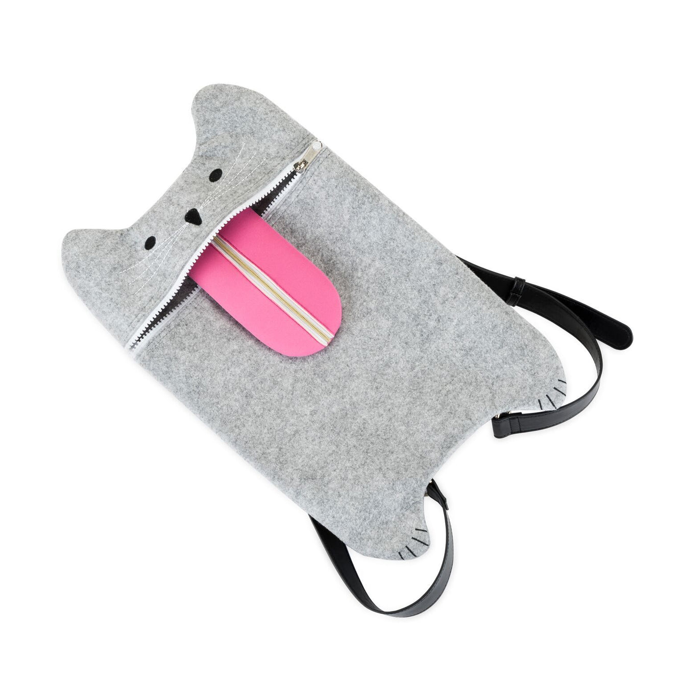 Grey Felt Smokey the Cat Bag-TRUEZOO-Peccadilly