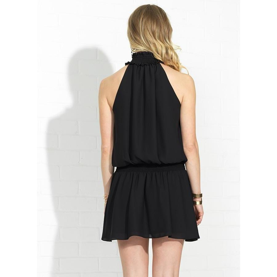 Halter Keyhole Kimmie Dress in Black-Women - Apparel - Dresses-AMANDA UPRICHARD-S-Peccadilly