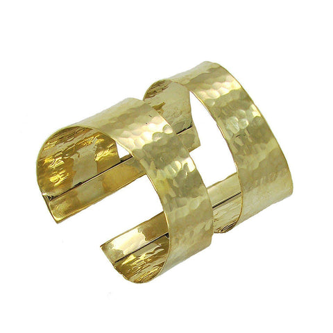 Hammered Swirl Cuff in Gold