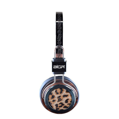 Handcrafted Headphones w/ Built-in Microphone in Leopard Rosewood