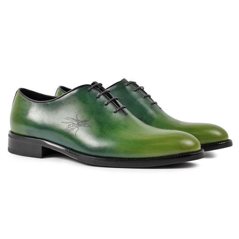 Handmade Designer Oxford Shoes in Green Genuine Leather