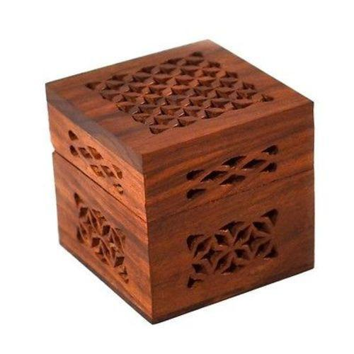 Handmade Small Lattice Cutwork Wood Box-Home - Decor - Decorative Boxes-MATR BOOMIE FAIR TRADE-Peccadilly