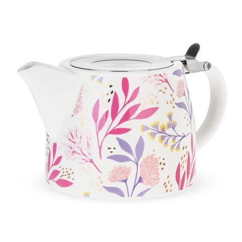 Harper Ceramic Teapot & Infuser-Home - Coffee + Tea - Teapot + Infusers-PINKY UP-Botanical-Peccadilly
