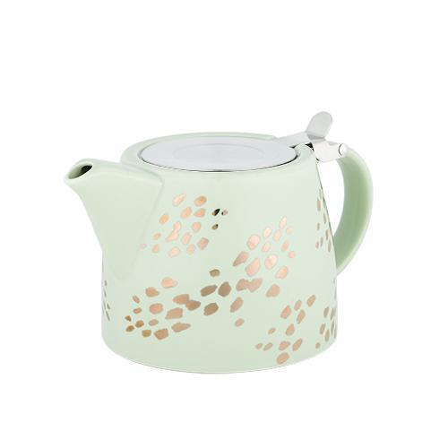 Harper Ceramic Teapot & Infuser-Home - Coffee + Tea - Teapot + Infusers-PINKY UP-Champagne Dots-Peccadilly