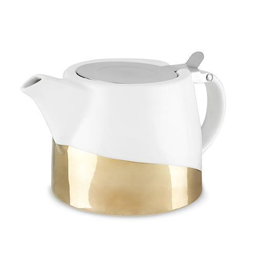 Harper Ceramic Teapot & Infuser-Home - Coffee + Tea - Teapot + Infusers-PINKY UP-Gold Dipped-Peccadilly