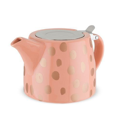 Harper Ceramic Teapot & Infuser-Home - Coffee + Tea - Teapot + Infusers-PINKY UP-Peach and Copper-Peccadilly