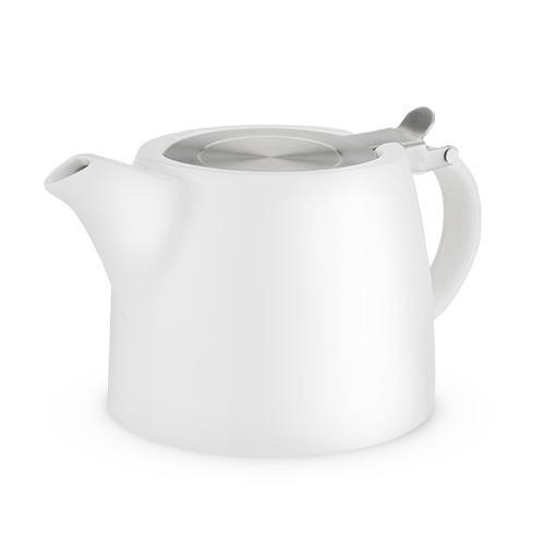Harper Ceramic Teapot & Infuser-Home - Coffee + Tea - Teapot + Infusers-PINKY UP-White-Peccadilly