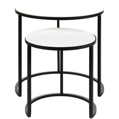 Hearthstone Metal and Marble Nesting Table Set