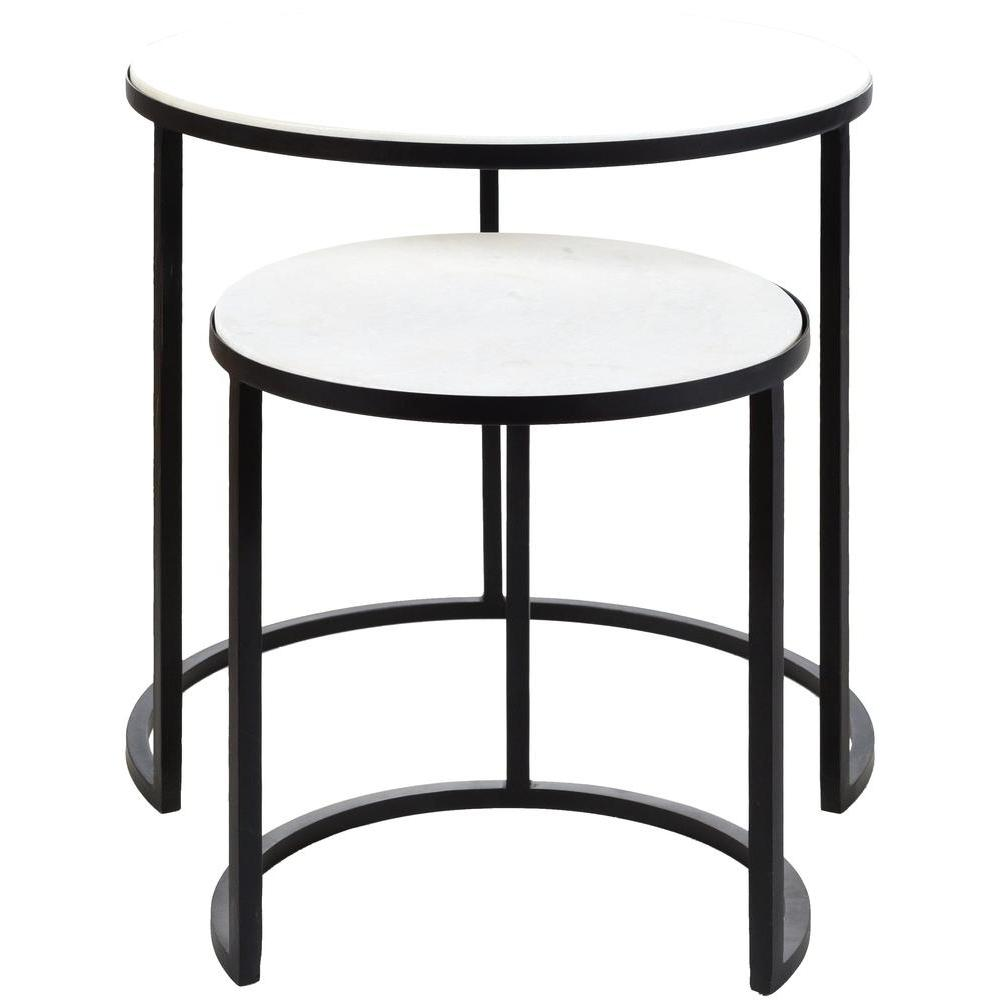 Hearthstone Metal and Marble Nesting Table Set-Home - Furniture - End Tables + Side Tables-SURYA-Peccadilly