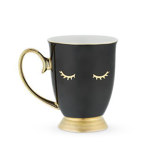 Holly Shut Eye Eyelash Mugs-Home - Coffee + Tea - Mugs-PINKY UP-Black-Peccadilly