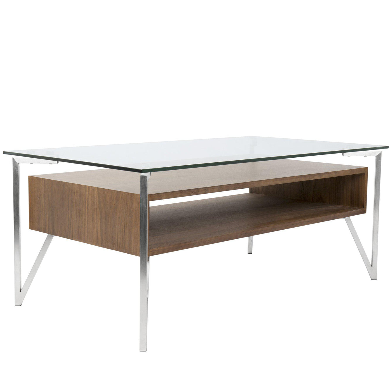 Hover Contemporary Coffee Table with Brushed Stainless Steel Frame, Walnut Wood Shelf, and Clear Glass Top-LUMISOURCE-Peccadilly