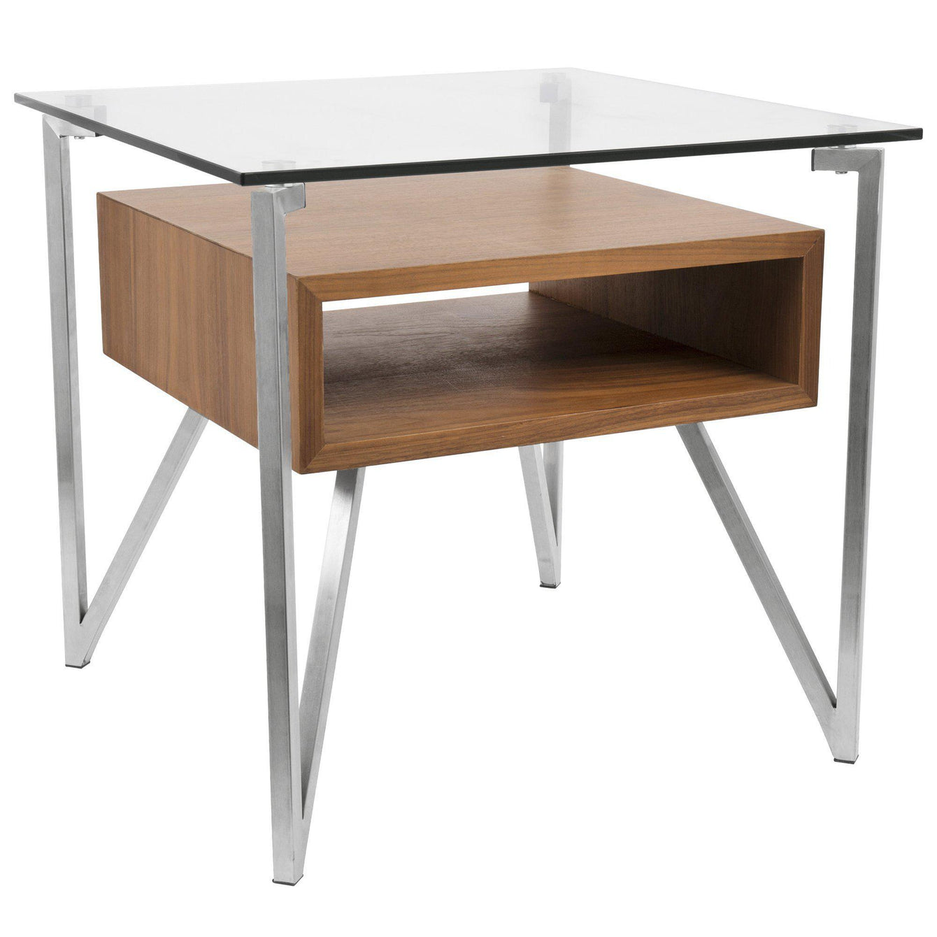Hover Contemporary End Table with Brushed Stainless Steel Frame, Walnut Wood Shelf, and Clear Glass Top-LUMISOURCE-Peccadilly