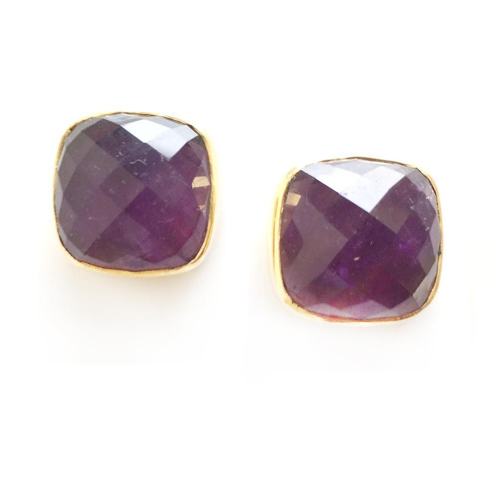 Hutchinson Faceted Genuine Gemstone Studs-Women - Jewelry - Earrings-ADDISON WEEKS-Amethyst-Peccadilly