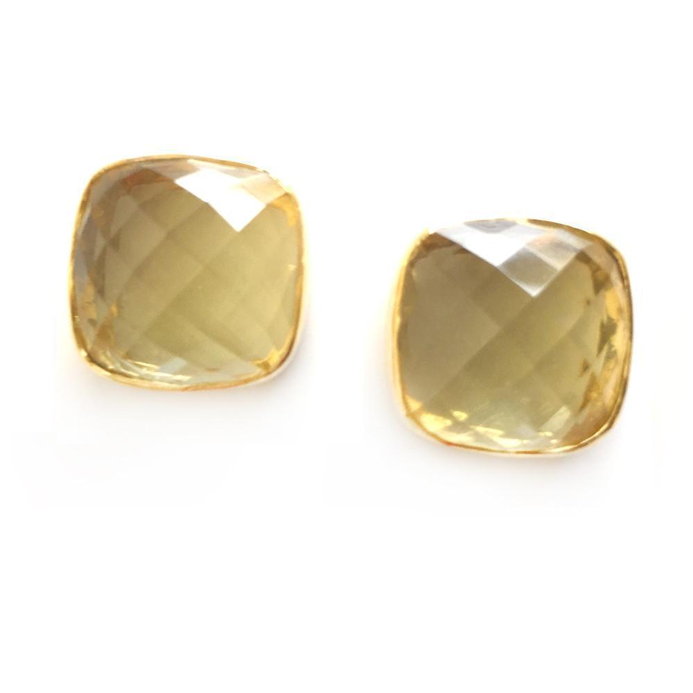 Hutchinson Faceted Genuine Gemstone Studs-Women - Jewelry - Earrings-ADDISON WEEKS-Lemon Topaz-Peccadilly