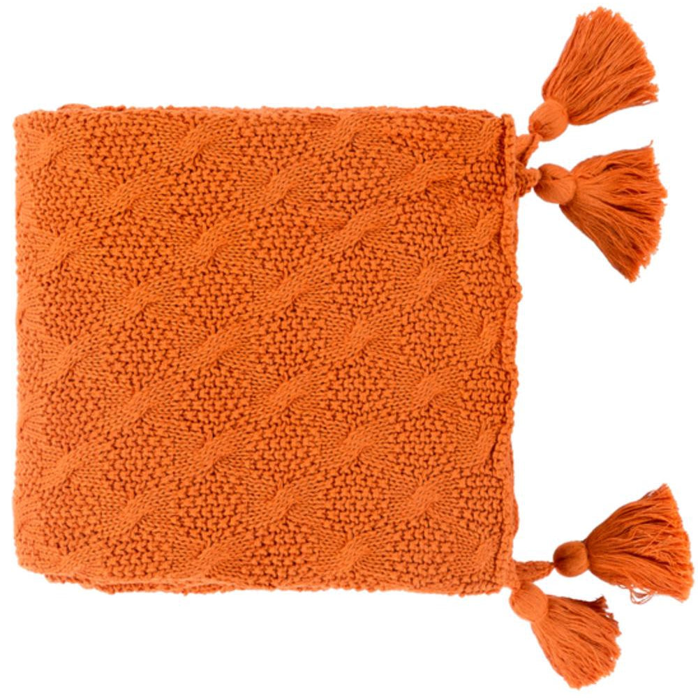 India 50 x 60 Knitted Pure Cotton Textured Throw Blanket-Home - Accessories - Throw Blankets-SURYA-Orange-Peccadilly