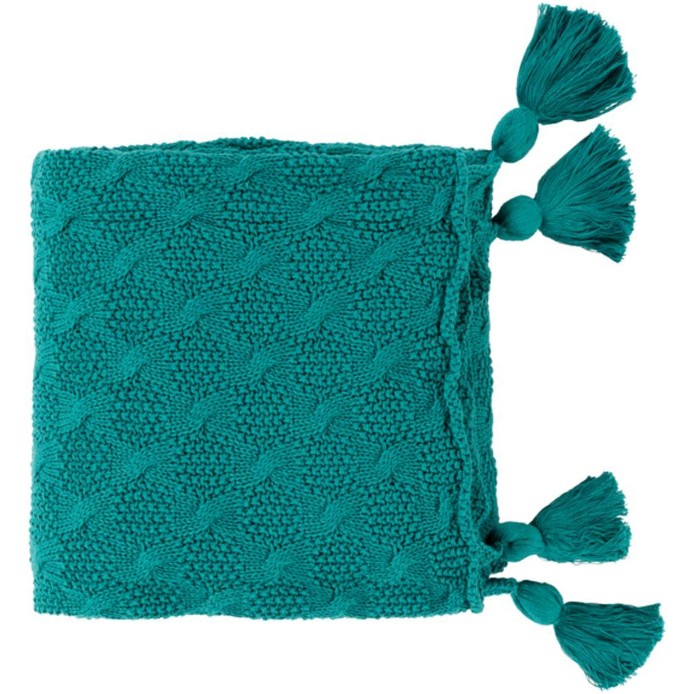 India 50 x 60 Knitted Pure Cotton Textured Throw Blanket-Home - Accessories - Throw Blankets-SURYA-Teal-Peccadilly