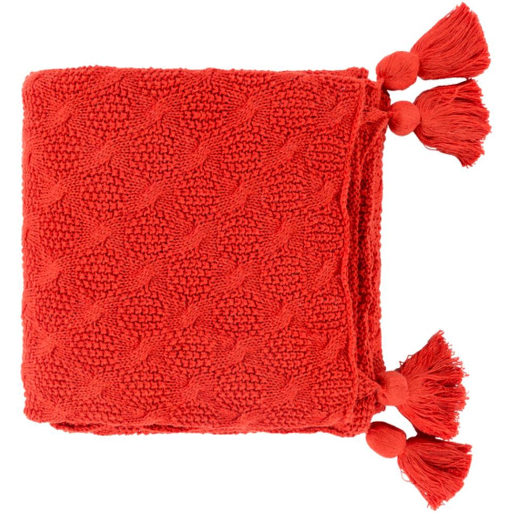 India 50 x 60 Knitted Pure Cotton Textured Throw Blanket-Home - Accessories - Throw Blankets-SURYA-Dark Orange-Peccadilly