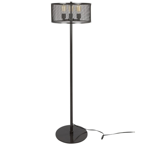 Indy Mesh Industrial Floor Lamp in Antique