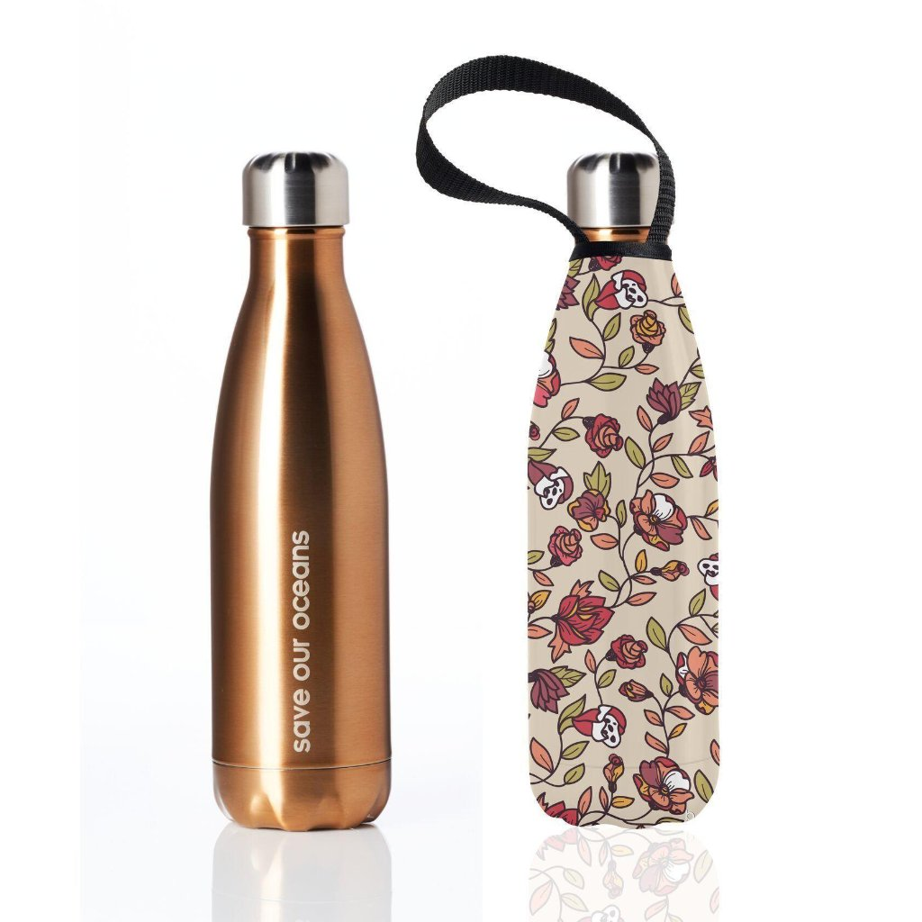 Insulated Eco Friendly 17oz Drink Bottle with Patterned Carry Covers-Home - Travel + Outdoors - Drink Bottles-BBBYO USA-Gold in Rose Pattern-Peccadilly