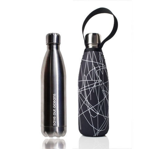 Insulated 17oz Silver Drink Bottle with Carry Cover in Sketch Pattern