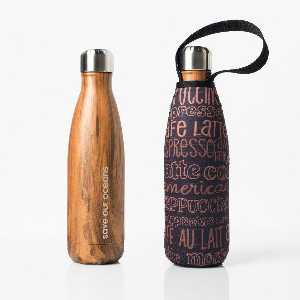 Insulated Eco Friendly 17oz Drink Bottle with Patterned Carry Covers-Home - Travel + Outdoors - Drink Bottles-BBBYO USA-Wood in Kofe Pattern-Peccadilly