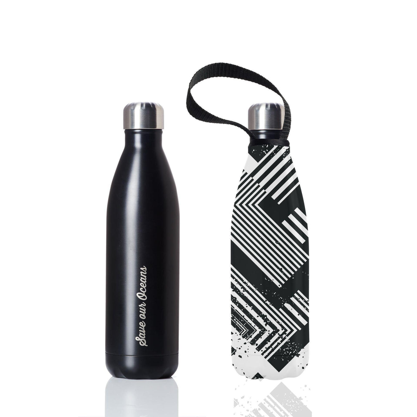Insulated Eco Friendly 25oz Drink Bottle with Patterned Carry Covers-Home - Travel + Outdoors - Drink Bottles-BBBYO USA-Black in Circuit Pattern-Peccadilly
