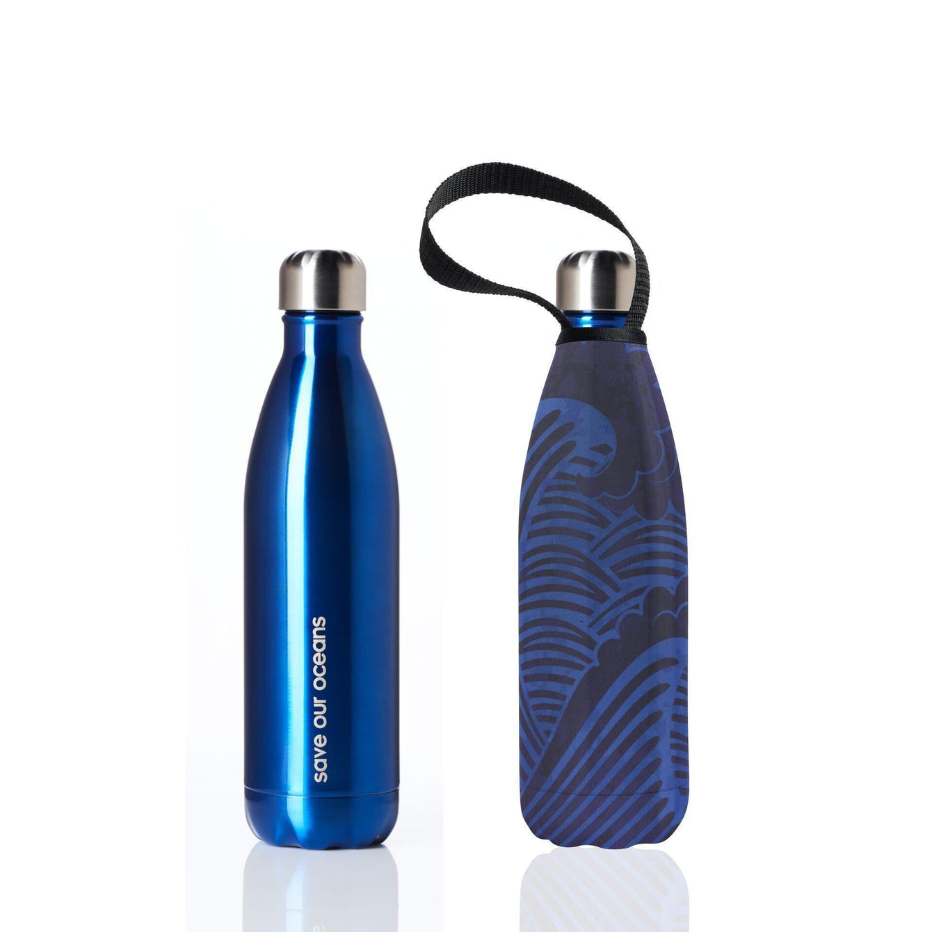 Insulated Eco Friendly 25oz Drink Bottle with Patterned Carry Covers-Home - Travel + Outdoors - Drink Bottles-BBBYO USA-Blue in Tsunami Pattern-Peccadilly