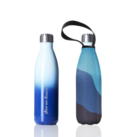 Insulated 25oz Blue Gradient Drink Bottle with Carry Cover in Big Blue Pattern