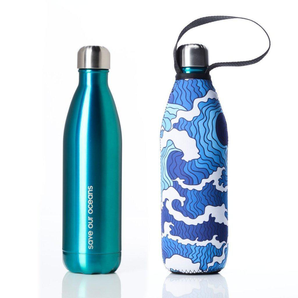 Insulated Eco Friendly 25oz Drink Bottle with Patterned Carry Covers-Home - Travel + Outdoors - Drink Bottles-BBBYO USA-Mint in Tsunami Pattern-Peccadilly