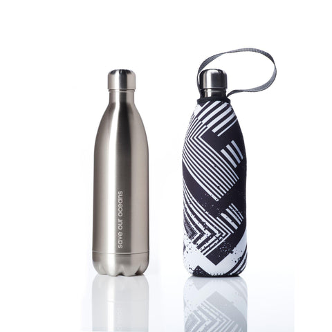 Insulated 34oz Silver Drink Bottle with Carry Cover in Silver Circuit Pattern