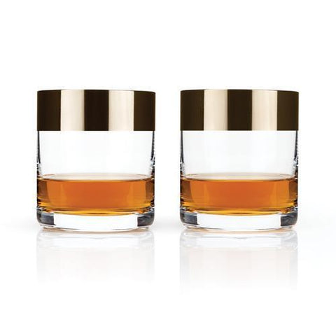 Metallic Rim Crystal Tumblers Set of 2