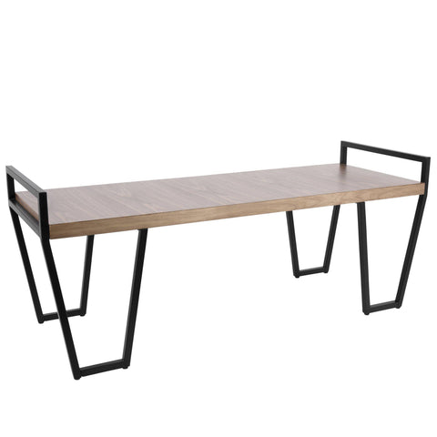 Julien Industrial Bench in Black and Walnut