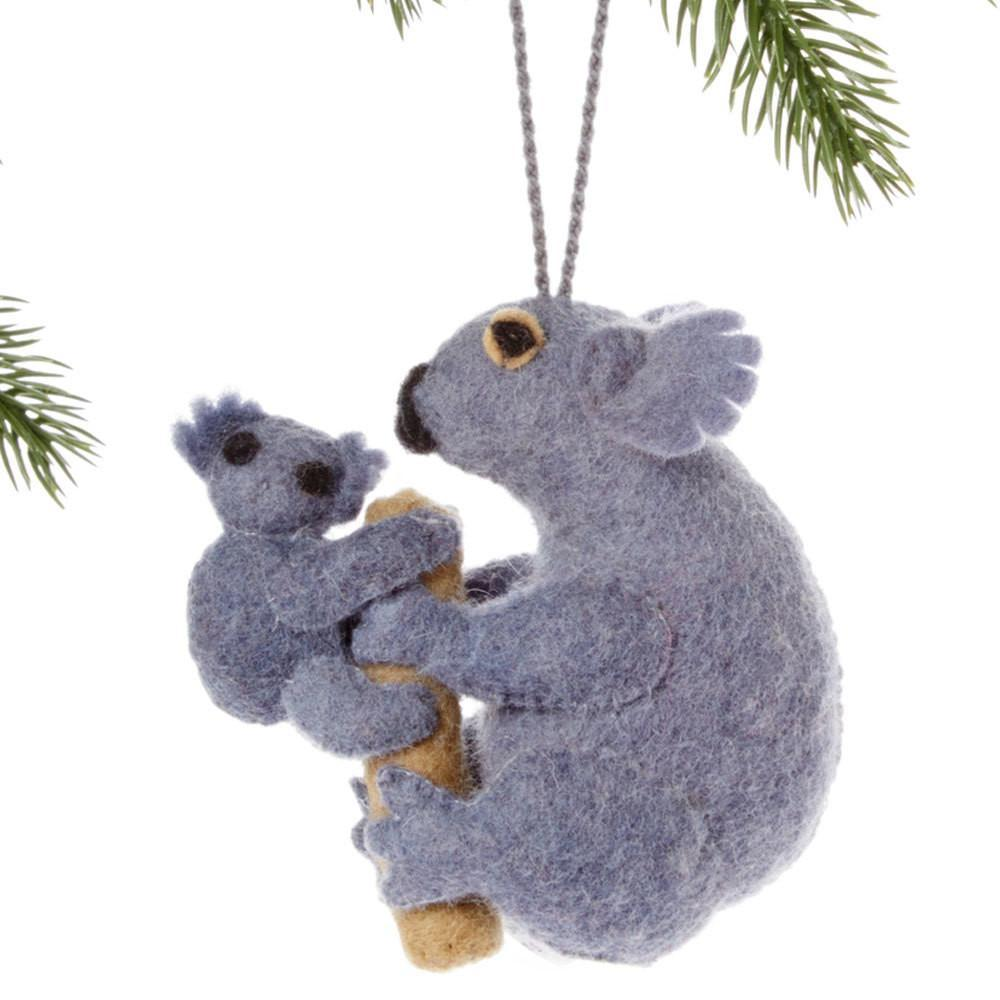 Koala Felt Holiday Ornament-Home - Decor - Holiday - Ornaments-SILK ROAD BAZAAR FAIR TRADE-Peccadilly