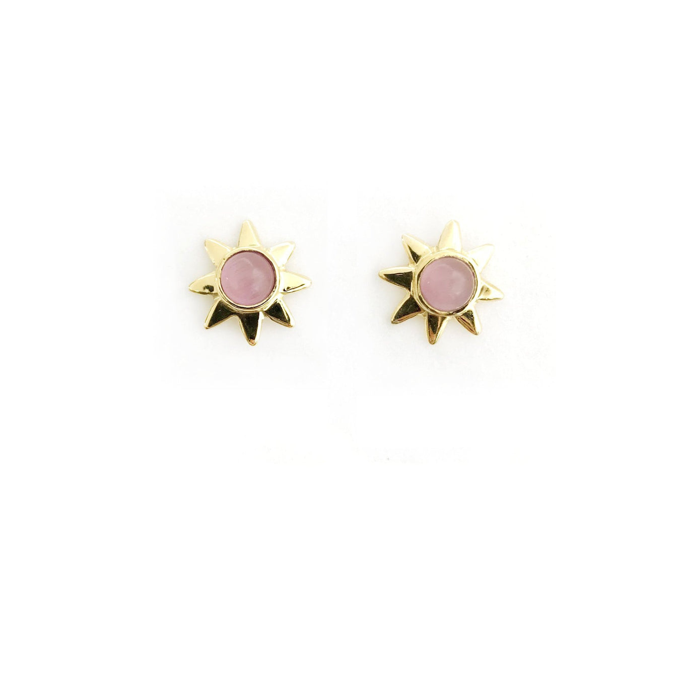 Starr 24k Gold Studs Genuine Gemstone Earrings-Women - Jewelry - Earrings-ADDISON WEEKS-Pink Opal-Peccadilly