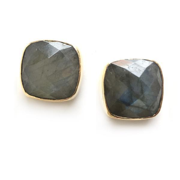 Hutchinson Faceted Genuine Gemstone Studs-Women - Jewelry - Earrings-ADDISON WEEKS-Labradorite-Peccadilly