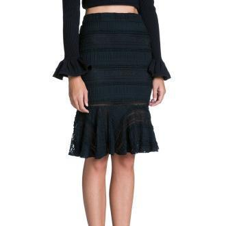 Lace Mermaid Flared Skirt in Black