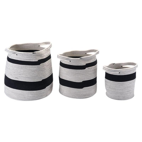Lafia Pure Cotton Striped Baskets Set of 3