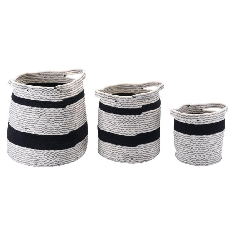 Lafia Pure Cotton Striped Baskets Set of 3-ZUO MODERN-Peccadilly