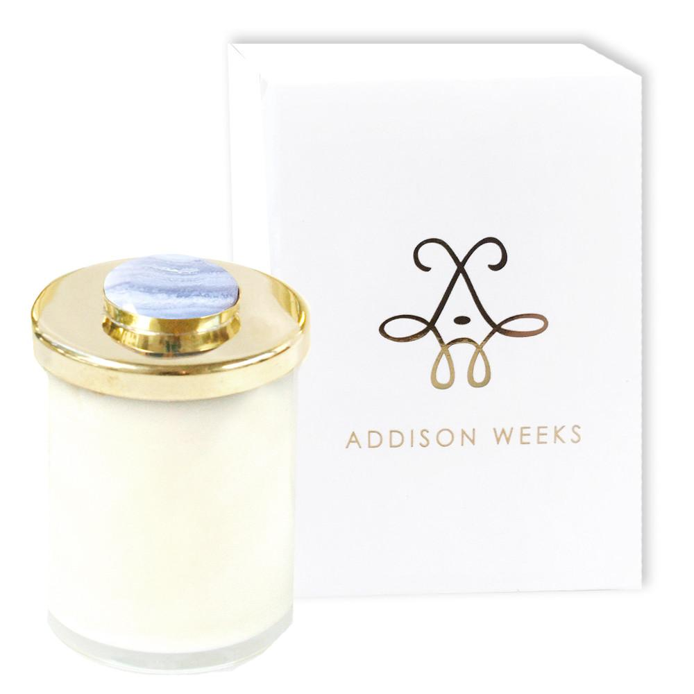 Genuine Gemstone Jar Candles Meadowgrass and Magnolia-Home - Decor - Candles-ADDISON WEEKS-Blue Lace Agate 3 oz.-Peccadilly