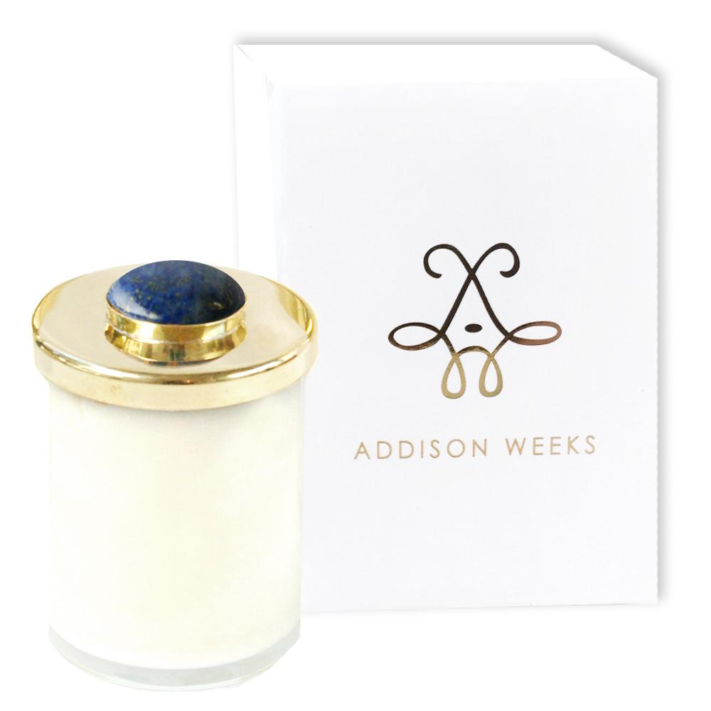 Genuine Gemstone Jar Candles Meadowgrass and Magnolia-Home - Decor - Candles-ADDISON WEEKS-Lapis 3 oz.-Peccadilly